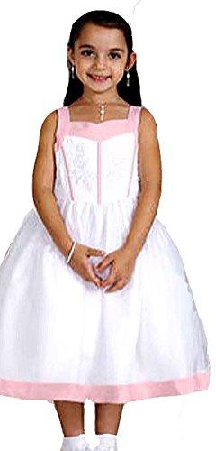 Blumenmädchen Kleid mit Stickerei weiß-rosa