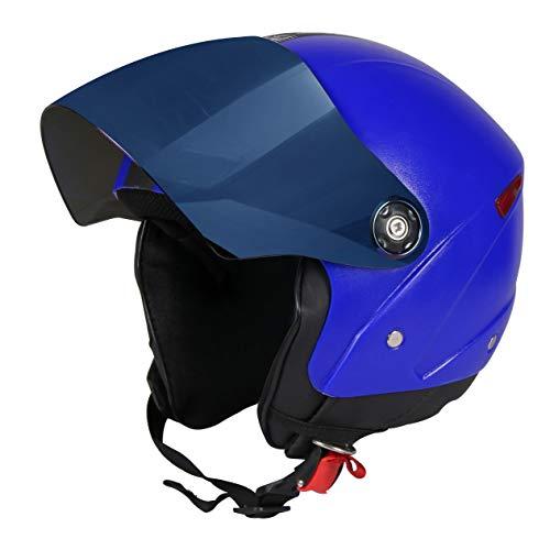 JMD HELMETS GRAND Premium Open Face Helmet with Mirror Visor (Blue, Medium)