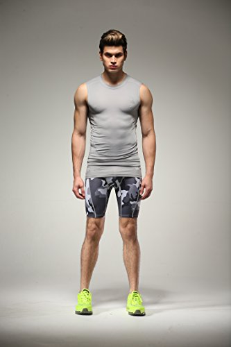 Fringoo Workout-Kompressions-Shorts für Herren, Thermo-Hose für Sport, CAMO GREY shorts - 4