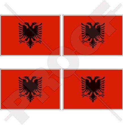 ALBANIEN Albanische Flagge Shqiperia 50mm Auto & Motorrad Aufkleber, x4 Vinyl Stickers -