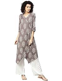 [Sponsored]Jaipur Kurti Women Grey & Off White Ethnic Motifs A-Line Cotton Kantha Kurta With Palazzo