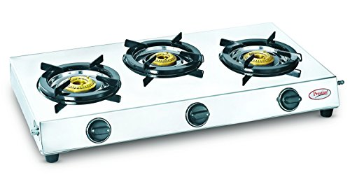 Prestige 40150 Perfect Stainless Steel 3 Burner Gas Stove, Metallic Silver