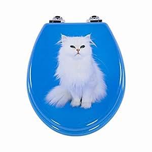 WC Sitz WC-Deckel Toilettendeckel Klodeckel weisse Katze
