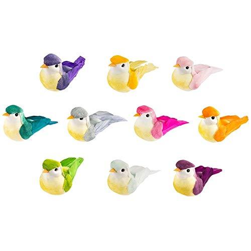 Deko-Federvögel, 6cm x 2,5cm x 3cm, verschiedene Farben, 10 Stück