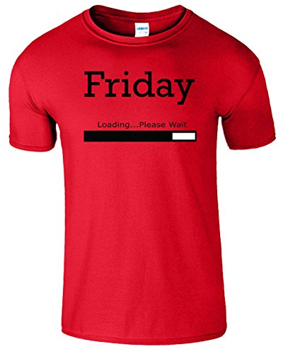 Friday Loading Weekend Frauen Der Männer T Shirt Rot (Red) / Schwarz Design