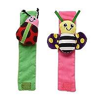 Ronshin Fashion 2Pcs Infant Baby Insect Shape Socks Rattle Toys Wrist Foot Socks Rattle B