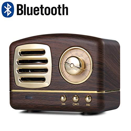 Lychee Vintage Altavoz Bluetooth Inalámbrico Retro Subwoofer Estéreo Subwoofer Portátil Mini Caja de Sonido Soporte TF AUX Reproducción de Música Manos Libres con Micrófono (Madera)