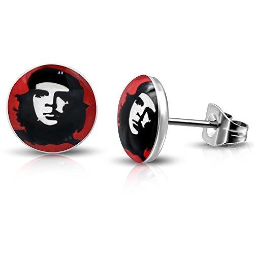 bungsa® che Guevara orecchini rosso Argento 7mm-1paio acciaio inox (-Orecchini pendenti con ganci auricolari Cuba leader Revolution Uomo Donne Donna Mode Studs Orecchini)