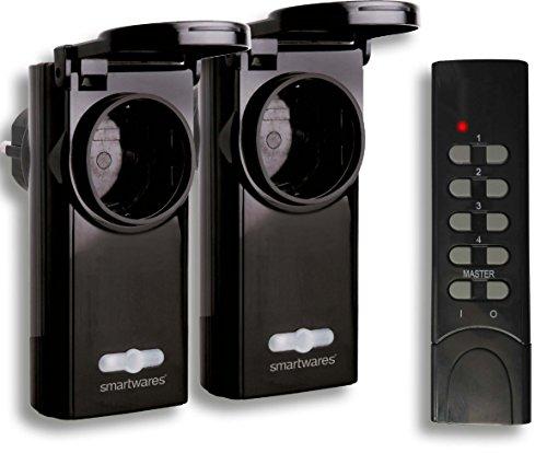 Smartwares SH5-SET-OP36 SmartHome 2er-Set Funk-Außensteckdosen für Geräte bis 3600 Watt mit 4-Kanal Fernbedienung