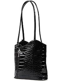 elegante Lack Leder Schultertasche Rucksack 2in1 Handtasche schwarz Kroko , 27-32x30x9 cm (B x H x T)