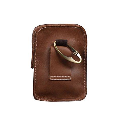 Zenness Klassiker echtes Leder Handy-Tasche Kleine Gürteltasche Tasche für Männer (Dunkel Kaffee) Braun 2