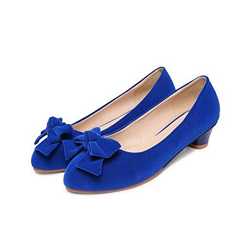 AgooLar Femme Couleur Unie Dépolissement à Talon Bas Tire Rond Chaussures Légeres Bleu