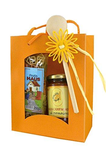 Nudel-Geschenkset bunte Pasta Haus mit Sosse Tomatensalsa -