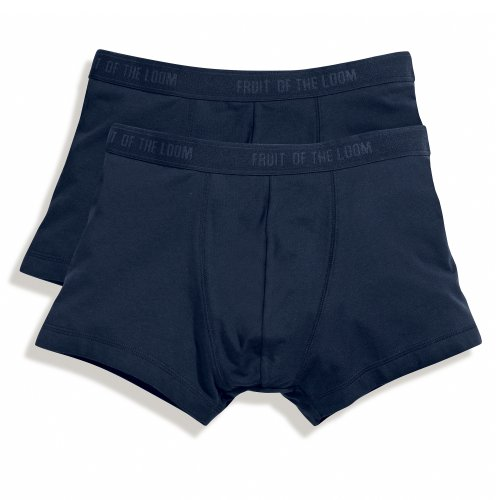 Fruit Of The Loom Herren Shorty Boxershorts, 2er-Pack (2XL) (Dunkles Marineblau)