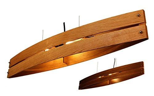 Hängeleuchte Holz CANOT - Pendelleuchte aus Eiche/Nussholz- made in Germany - LED Designer Wand- und Deckenleuchte Massivholz Eiche 2xE14 Esszimmer, Wohnzimmer, Flur handgemachte Hängelampe