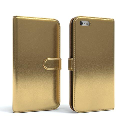 Apple iPhone 5C Tasche, EAZY CASE Book-Style Case Uni, Premium Handyhülle mit Kartenfach, Schutzhülle Geldbeutel mit Standfunktion, Wallet Case, Etui mit Kartenfach in Gelb Metallic Gold