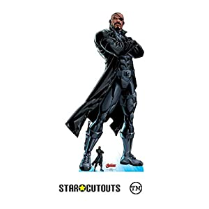 Star Cutouts SC1616 Ltd Nick Fury Recorte de cartón de tamaño real perfecto para los fans de Marvel, fiestas y eventos, altura 191 cm ancho 95 cm, multicolor