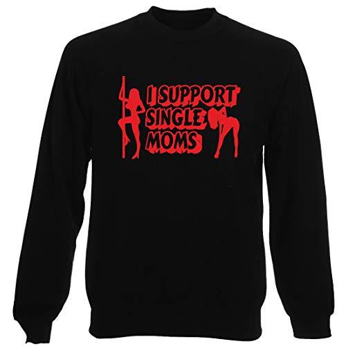 T-Shirtshock Rundhals-Sweatshirt fur Mann Schwarz FUN2074 i Support Single Moms -