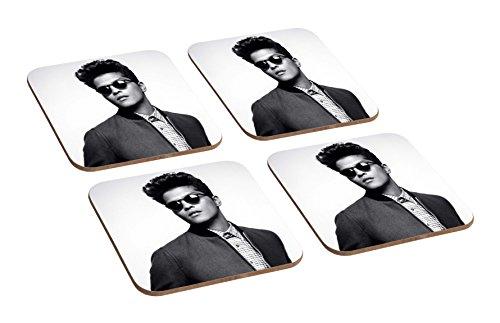 Bruno Mars Awesome BW 4TEILIGES Holz-Untersetzer Set (Bruno Mars Hat)