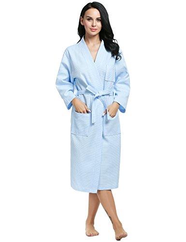 Ekouaer Unisex Baumwolle Waffelpique Bademäntel Schlafanzüge Spa Sauna Mantel Lange Morgenmantel Nachtwäsche Nachthemden leichtgewicht
