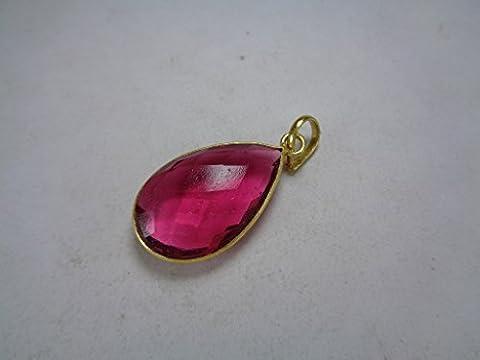 Tourmaline Rose Pendentif en or, pendentif en forme de larme, cadeau romantique pour elle