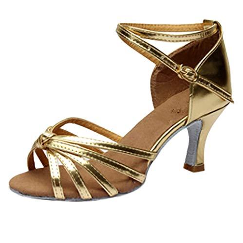 OSYARD Damen Frauen Sandalen Tanzschuhe Pumps,Damen Mädchen Silber Peep Toe Sandaletten Latin Tango Rumba Gesellschaftstanz Dance Schuhe Satin Abendschuhe Absatzschuhe Tanzschuhe