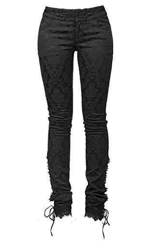 Punk gótico algodón Mujeres Pantalones Steampunk patrón de la Moda en Relieve Apretado Largo Leggings Pantalones con Encaje Inferior