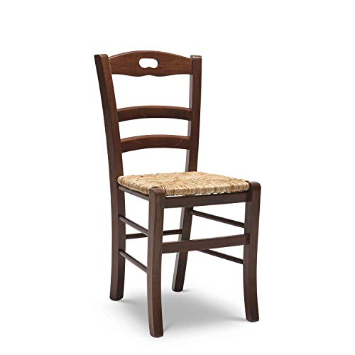 Arredinitaly set 2 sedie sonia in legno massello di faggio tinto noce e seduta in vera paglia - prodotto di qualità, 100% made in italy