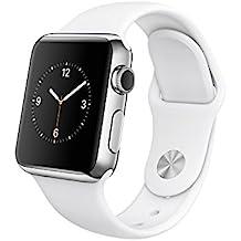 Apple Watch 38mm Edelstahlgehäuse mit Sportarmband weiß