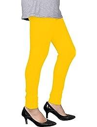Spring Up Yellow Pink Woman's Cotton Lycra Premium Leggings (Pack Of 2)