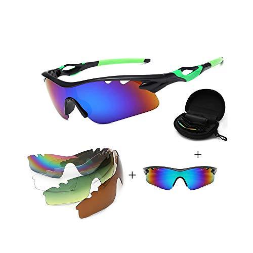 JIGAN Sport-Sonnenbrille, UV 400 Protection Windproof Radsportbrille mit 4 auswechselbaren Gläsern,Green