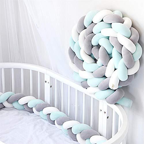 YIKANWEN Bettumrandung, Baby Nestchen Bettumrandung Weben Kantenschut Kopfschutz Stoßfänger Dekoration für Krippe Kinderbett,Länge 2M (Grau+Weiß+Grün)