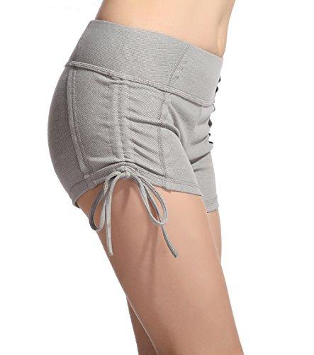 Lotus Instyle Damen kurze Hose Yoga Shorts mit Schnuerung Gray