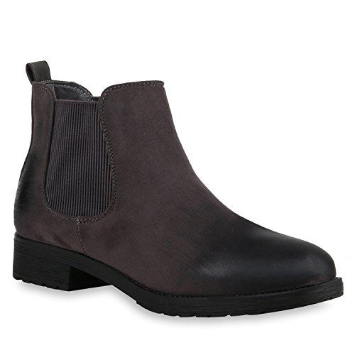 Stiefelparadies Damen Stiefeletten Chelsea Boots Gefütterte Ankle Booties Klassische Wildleder-Optik Schuhe Profil 121127 Grau 42 Flandell