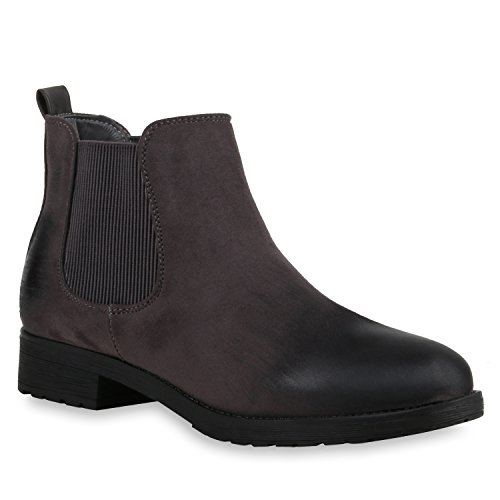 Modische Damen Stiefeletten | Chelsea Boots Prints | Schuhe Bequem | Übergrößen Gr. 36-42 | Zipper Wildleder-Optik Grau Matt