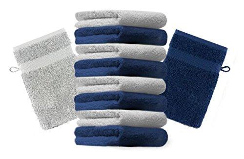 Betz lot de 10 gants de toilette taille 16x21 cm 100% coton Premium couleur gris argenté, bleu foncé