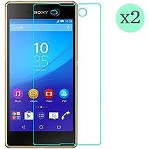 (Pack de 2) Protector de pantalla Cristal templado para Sony Xperia M5 Calidad HD, Grosor 0,3mm, Bordes redondeados 2,5D, alta resistencia a golpes 9H. No deja burbujas en la colocación (Incluye instrucciones y soporte en Español)