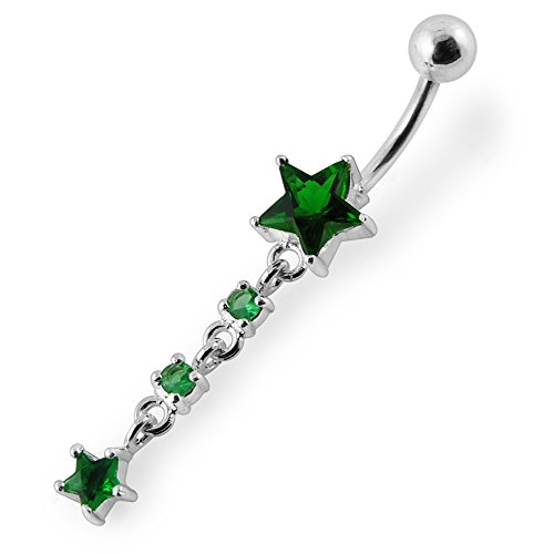 Barres de Pierre en cristal Design Star mode 925 en argent Sterling avec le ventre en acier inoxydable Dark Green