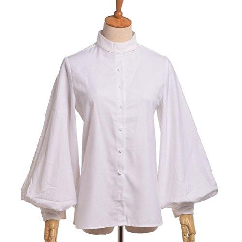 Viktorianische gotische Lolita weiße Bluse Frauen Vintage Langarm Stehkragen Shirt Tops (Rüschen Bluse Viktorianische)