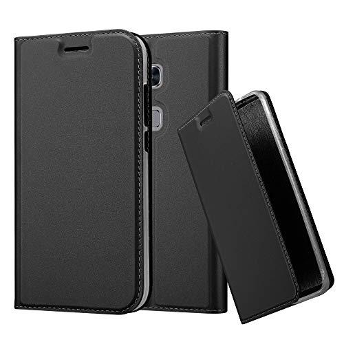 Cadorabo Hülle für Huawei G7 Plus / G8 / GX8 - Hülle in SCHWARZ – Handyhülle mit Standfunktion und Kartenfach im Metallic Look - Case Cover Schutzhülle Etui Tasche Book Klapp Style