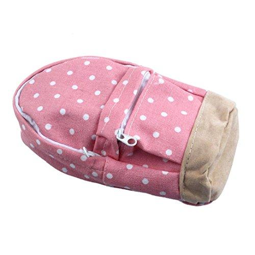 LHWY New Fashion Mini School bag Pen Case Canvas Pencil Case Children Pen Bag (Pink)