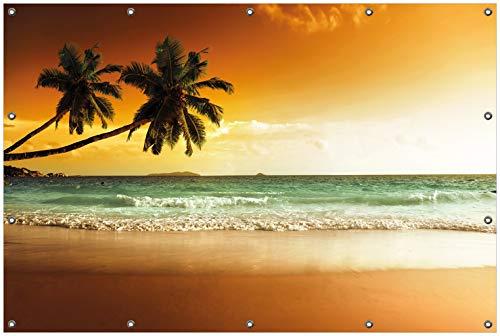 Wallario Garten-Poster Outdoor-Poster, Palmen am Sandstrand Bei untergehender Sonne in Premiumqualität, für Den Außeneinsatz Geeignet