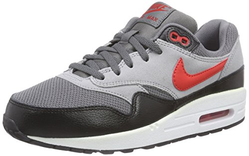 Nike Air Max 1 (GS) Unisex-Kinder Sneakers Grau (Drk Grey/Chllng Rd-Wlf Gry-Blk 016)