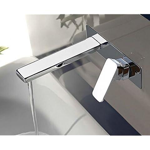 Montado en la pared con un asa TougMoo Cascada Grifo lavabo grifo mezclador Baño con acabado cromado