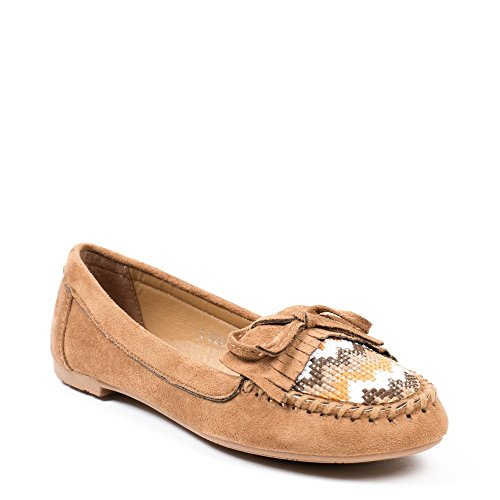 Ideal Shoes, Damen Slipper & Mokassins Camel