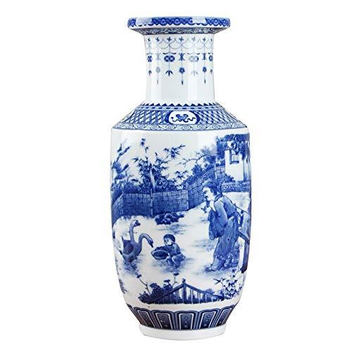 Cxp Boutiques Stil Klassische chinesische Blaue und weiße keramische Vase-antike Tischplattenporzellan-Blumen-Vase for Hotel-Esszimmer-Dekoration Elegant (Color : E) - Antike Esszimmer
