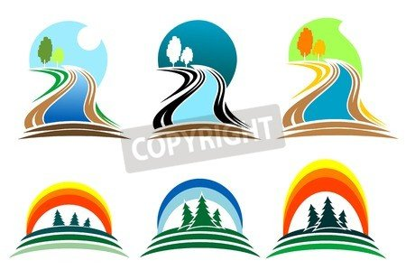 """Poster-Bild 40 x 30 cm: """"Colorful isolated nature icons for design and decoration"""", Bild auf Poster"""