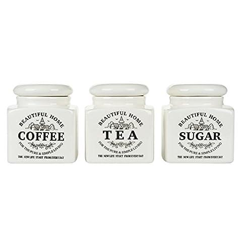 Vintage Tea Coffee Sugar Canister Storage Jar Porcelain White Set 3 Gift Present (1 set)