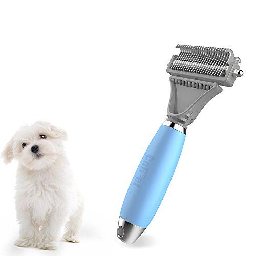 Pet Dematting Kamm - Colpet CP-GT01 Professionelle Pet Dematting Kamm mit Dual-seitig, Silikon Griff Grooming Rake für Katzen & Hunde, hellblau