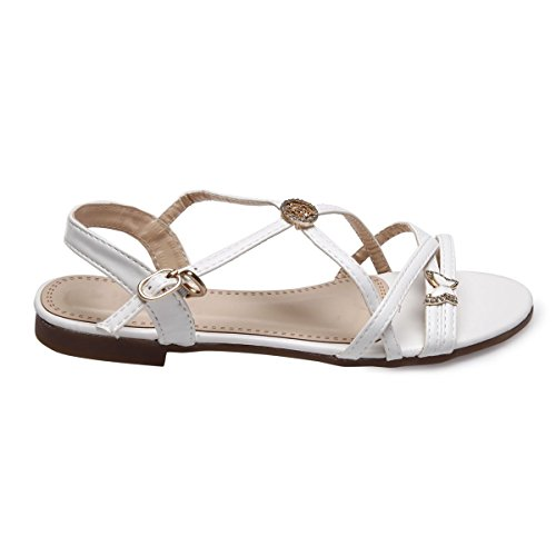 La Modeuse Sandales Simili Cuir Plates Blanc